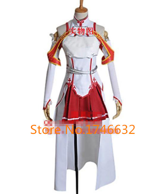Game Anime Sword Art Online Asuna Yuuki White Uniforms Party Fashion Cosplay Costume S-XXL