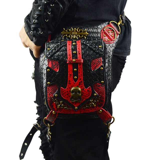 Red Black Leather Patchwork Bronze Skull Rivet Punk Waist Bags for Women Men Vintage Motorcycle Leg Bag of Original Designer 1