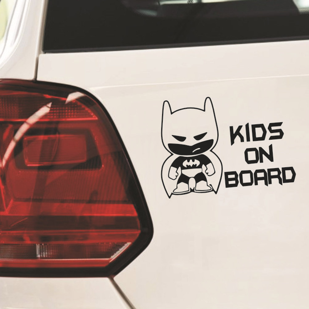 Superheroes kids on board Reflective Car Stickers And Decals Funny Decoration two colors
