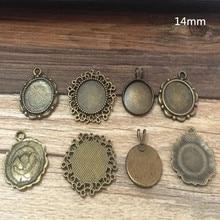 MIXED style 4style Diy Bronze Round pendant base Cameo Cabochon Base Setting Necklace Pendant  20pieces/lot