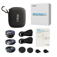 Lieqi Phone Camera Lens, 0.65X Super Wide Angle Lens + 10X Macro Lens +No Dark Corner Fisheye, Clip on 3 in 1 Cell Phone Lens(China)