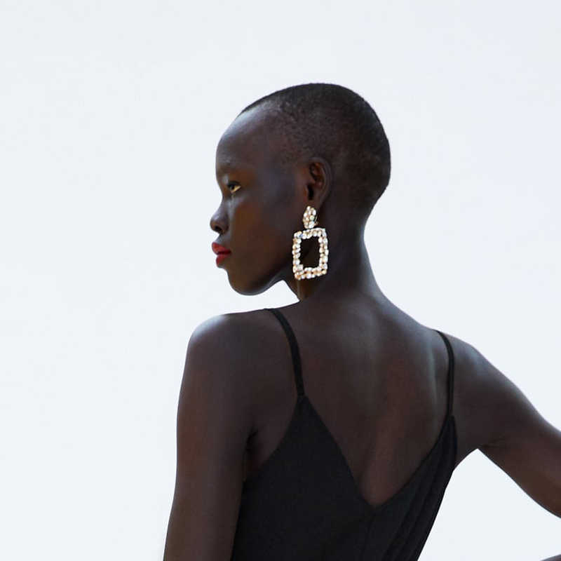 Girlgo ZA kryształ wisiorek kolczyki duże długie kwadratowe kolczyki Drop kobiety moda 2018 Party Wedding Bridal biżuteria hurtowych AD1