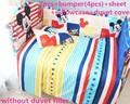 Promoção! 6 / 7 PCS Mickey Mouse cama berço 100% algodão respirável outono e inverno set, 120 * 90 / 120 * 70 cm