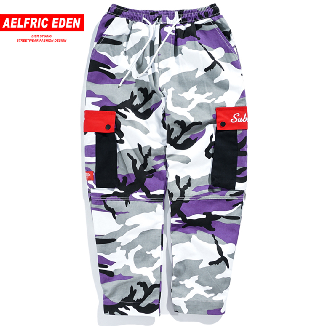 Aelfric Eden Camo Mens Cargo Pants 2018 Color Block Pockets Hip Hop Casual Camouflage Trousers Fashion Joggers Streetwear B065