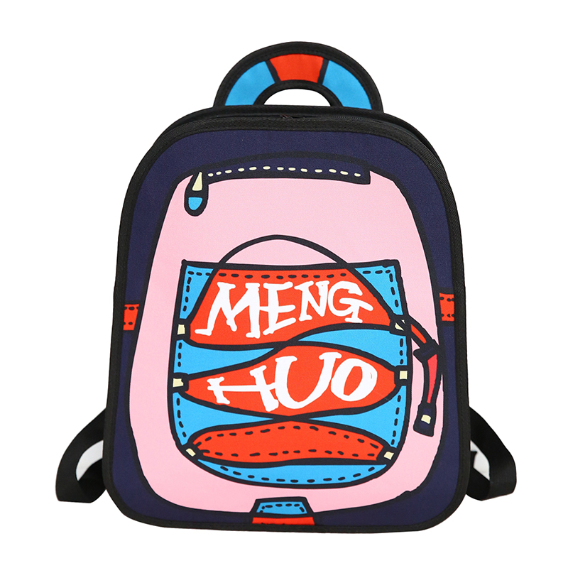 Menghuo New 3D Anime Cartoon Women Backpack School Bag Nylon 2D Style Travel Drawing Book Backpack Mochilas for Teenagers Gilrs
