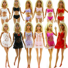 USA 8 Corp famous Lot 18Pcs = 6 Sets Colorful Sexy Pajamas Lingerie Nightwear Lace Night Dress + Bra + Underwear Clothes For Barbie Doll