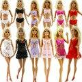Lote 18 Pcs = 6 Conjuntos Colorido Sexy Pijamas Lingerie Roupa de Dormir rendas noite vestido + bra + cueca roupas para barbie boneca