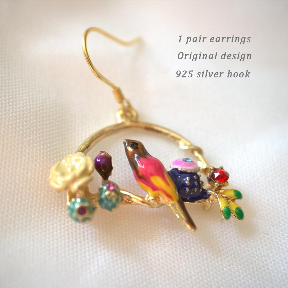 Owl Earrings Rhinestone Antiqued Silver Plated Boho Bird Jewelry Dangle Vintage Design Bird Earrings