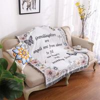 130cmx160cm Village Flowers and Birds Cotton Knitted Fabric Sofa Blanket Sofa Covered Towel Decorative Blanket Useful Tapestry