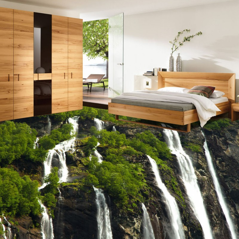 Free Shipping Green Vegetation Waterfall Water 3D Floor Painting thickened non-slip bedroom living room bathroom flooring mural free shipping hawthorn carp swimming in 3d floor painting thickened non slip bathroom office square living room flooring mural