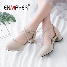 ENMAYER  Mary Janes  Med Square Heel Women Fashion Pumps Cow Suede  Square Toe  Casual Women Shoes Size 34-43 LY1638 2017 mary janes women pumps fashion patent leather slip on casual women shoes spring autumn flower toe part square heel med heel