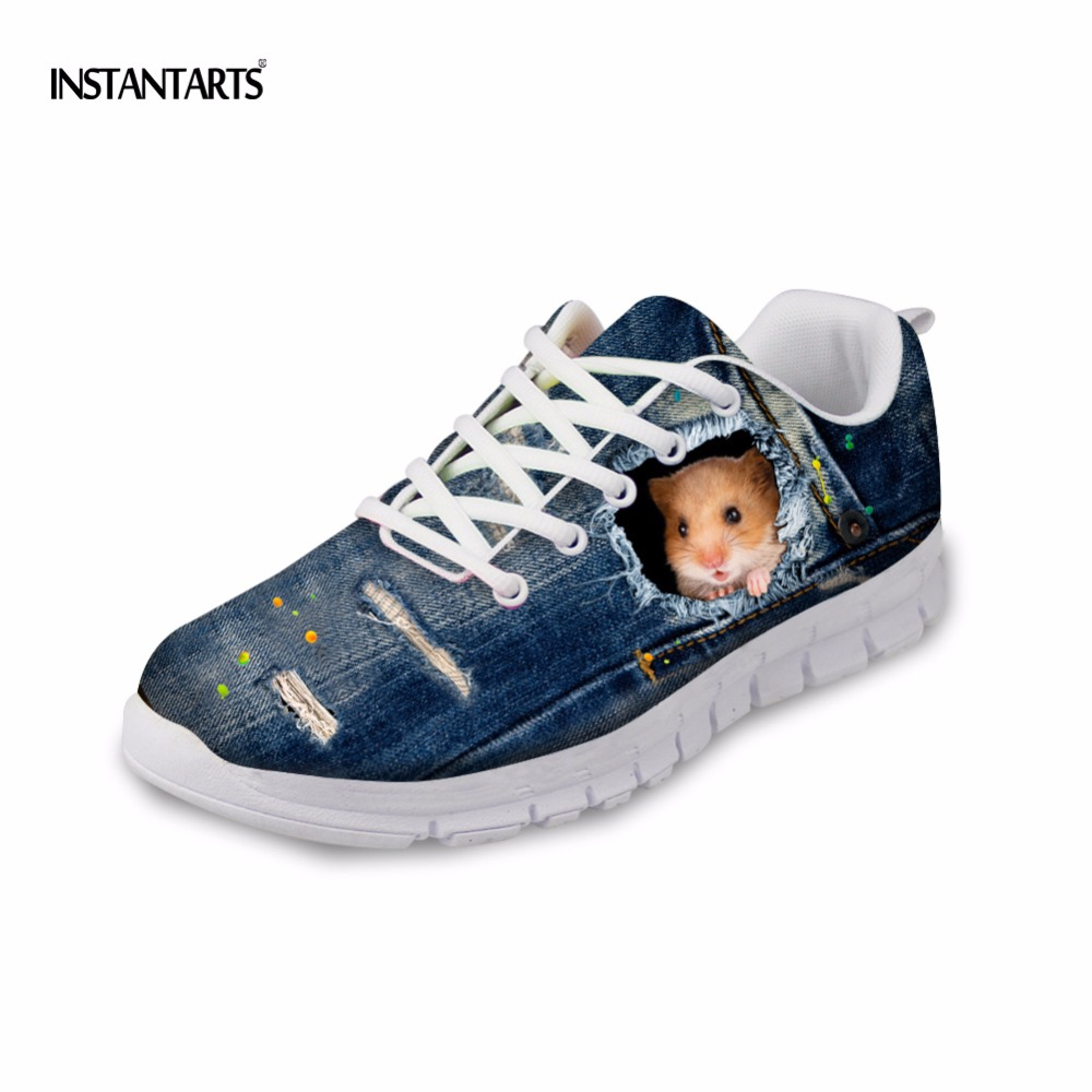 INSTANTARTS Women Sneakers 3D Cute Blue Denim Cat Pattern Breathable Mesh Lace Up Casual Shoes Hamster Woman Flats Shoes Zapatos instantarts cute glasses cat kitty print women flats shoes fashion comfortable mesh shoes casual spring sneakers for teens girls