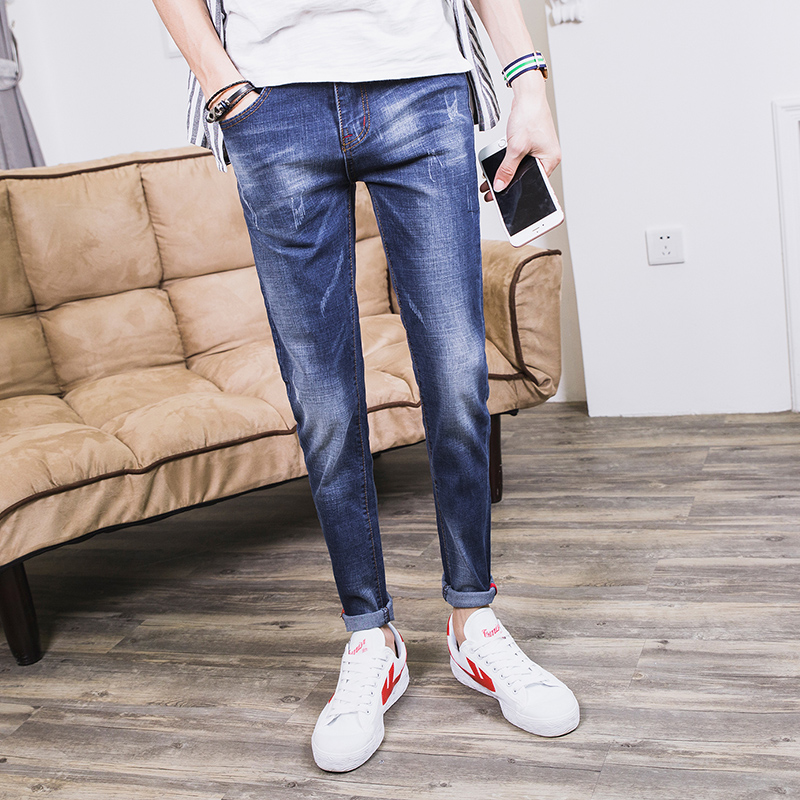 2017 new young students jeans autumn and winter Korean version, self-cultivation fashion casual Business men's pure cotton jeans point systems migration policy and international students flow