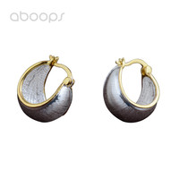 Two Tone 925 Sterling Silver Brushed Hoop Earrings for Women Girls Free Shipping