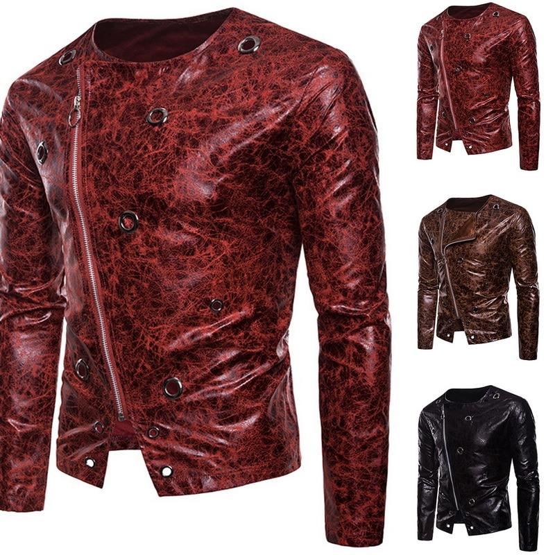 Monerffi Jacket Punk-Rock Zipper Long-Sleeve Coats Casual Autumn Male Black Brand Printed