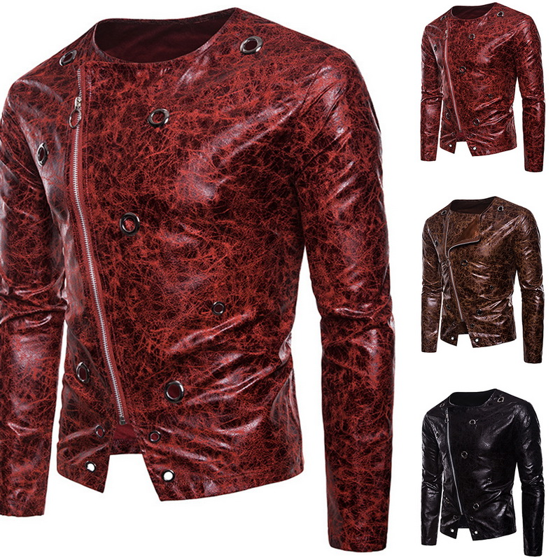 Men's Faux Leather Jacket Brand Male Punk Rock Motorcycle Faux PU Jackets Autumn Casual Long Sleeve Leopard Printed Zipper Coats