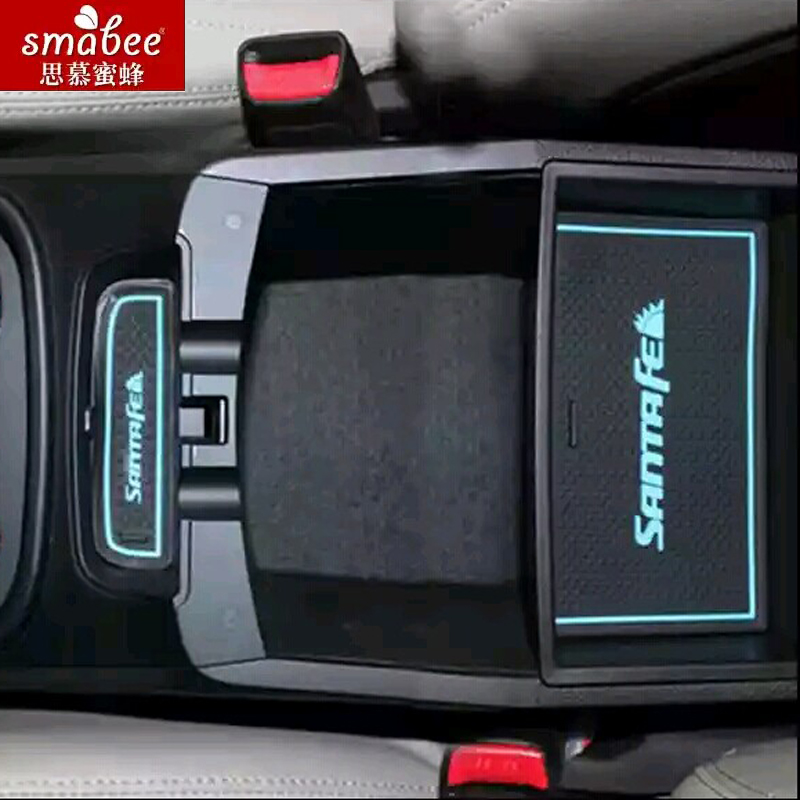 19pcs/set For Hyundai Santa Fe IX45 2013 - 2015,Car Accessories 3D Rubber Mat Non-slip Mat Door Groove Mat Smabee