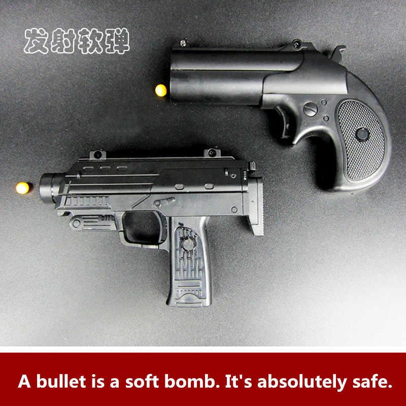 2PCS Outdoor Toy Guns 1:6 Metal Plastic Mini Pistol Soft Bullet Shot Gun  Boy Gift Alloy CS Game Children's gifts Manual Toy Gun