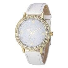 Moda Diamante de Couro Analógico de Pulso de Quartzo das Mulheres Relógios Cor: Branco