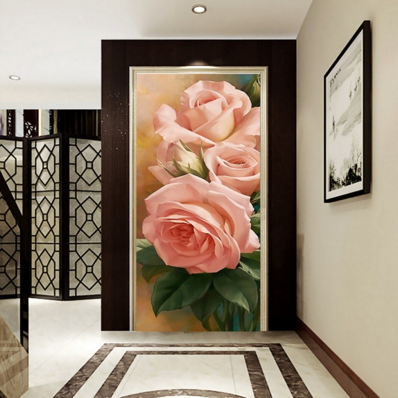 Custom photo wallpaper 3D stereo wallpaper Peony Floral Oil Paintings entrance wallpaper lobby studio hallway mural free shipping 3d stereo entrance hallway custom wallpaper vertical version european oil painting wallpaper mural