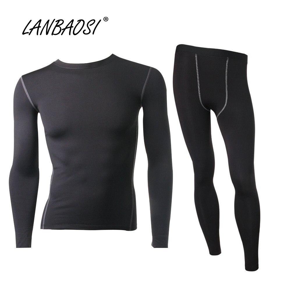 LANBAOSI Männer Gesetzt Thermische Fleece Unterwäsche für Winter Compression Enge Top & Bottom Hot-Dry Gefüttert Warm Lange Unterhosen leichte