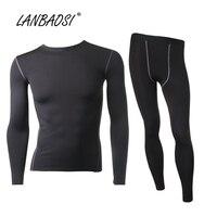 Men S Thermal Compression Top Bottom Fleece Lined Underwear Set