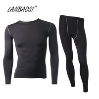 Men S Thermal Compression Top Bottom Fleece Lined Underwear Set