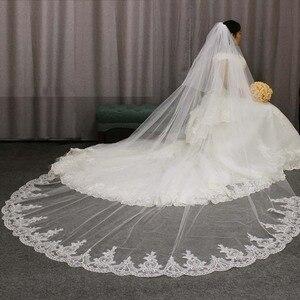 Image 3 - Hoge Kwaliteit Kant Applicaties Lange 2 T Wedding Veil Cover Gezicht 3 Meter Kathedraal Bridal Veil Met Kam Blusher Voile mariage