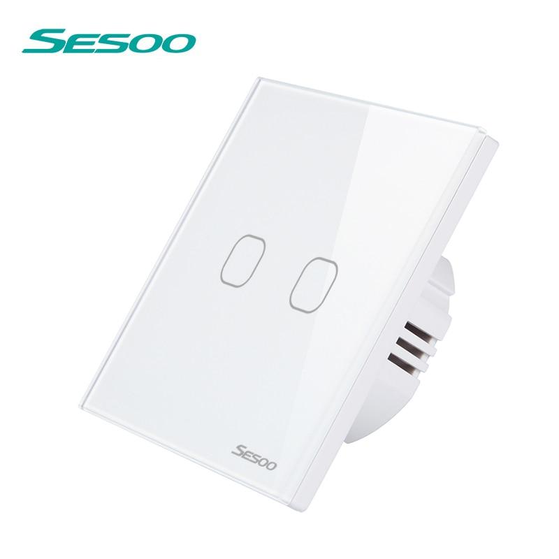 UE/Reino Unido sesoo Control remoto Interruptores 2 Gang 1 manera, panel del interruptor del vidrio cristalino, pared Remoto + indicador del LED