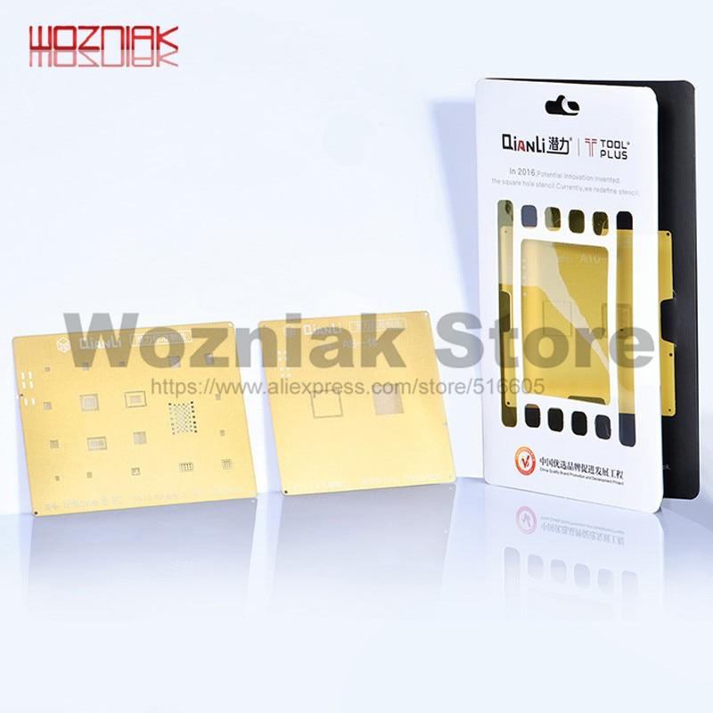 QIANLI IOS Golden 3D Steel Mesh NAND Baseband IC/CPU A8 A9 A10 A11 3D BGA Reballing Stencil For IPHONE 6 6S 7 7P 8P T0.12 Net