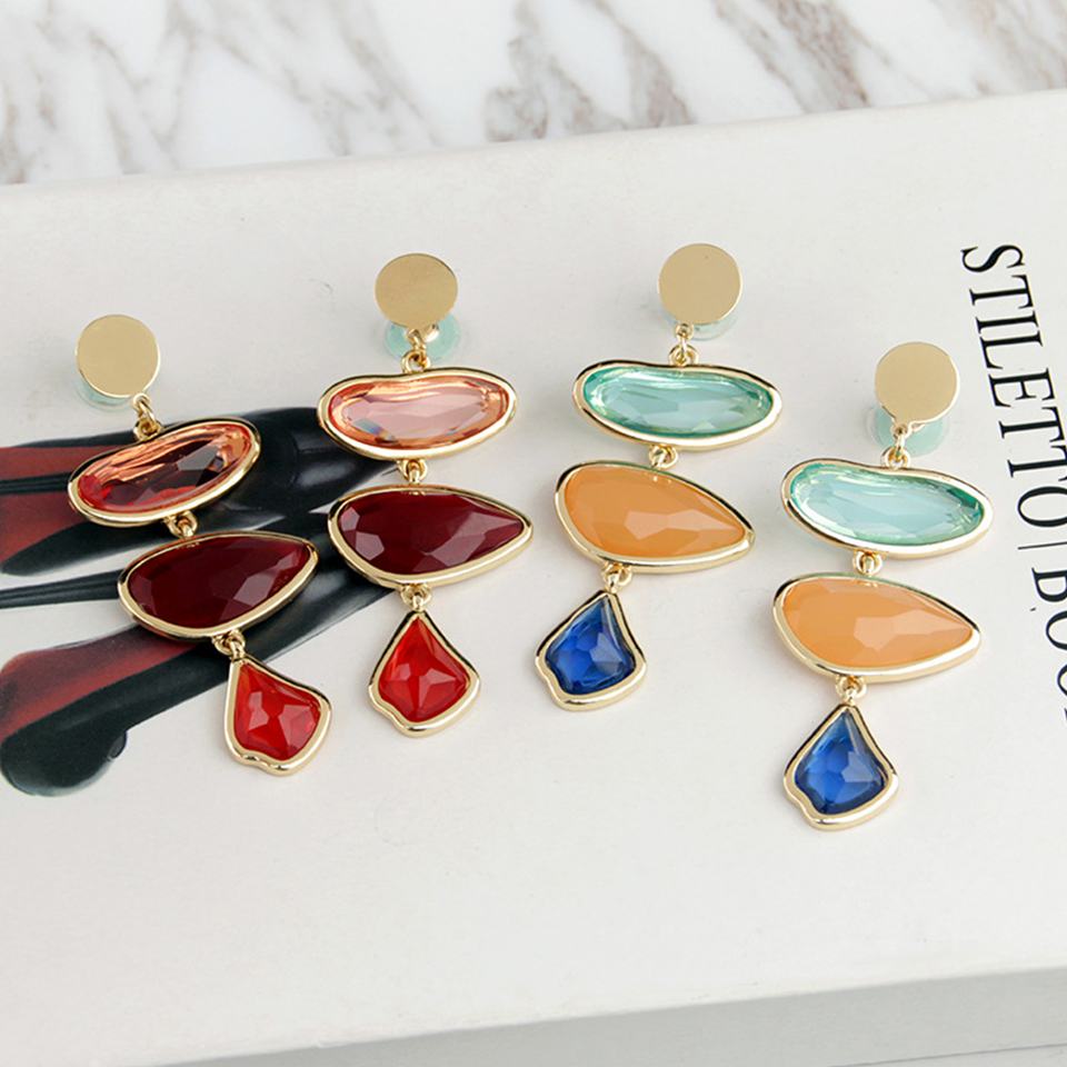 Vintage Chic Geometric Statement Earring 2019 New Designer for Women Red Long Acetate Acrylic Drop Dangle Earrings Pendientes