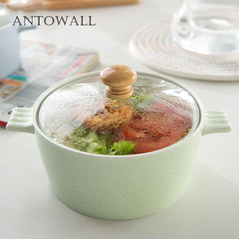ANTOWALL Mud color double ear bowl with glass cover instant noodle bowl ceramic student breakfast noodle bowl household