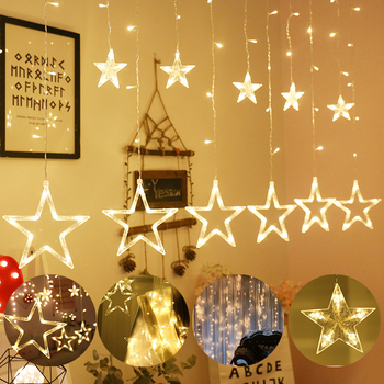 110V 220V LED Star Fairy Lamp Christmas Garlands String Curtain Lights Outdoor For Holiday Party Wedding New Year's Decoration 220v 138pcs led fairy string lights star curtain lights waterproof outdoor christmas decorations for home wedding garlands natal