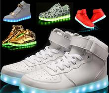 Men casual shoes High Top LED Shoes for Adults White Black Glowing Light Up Flat Casual Shoes Luminous Recharging 35-46