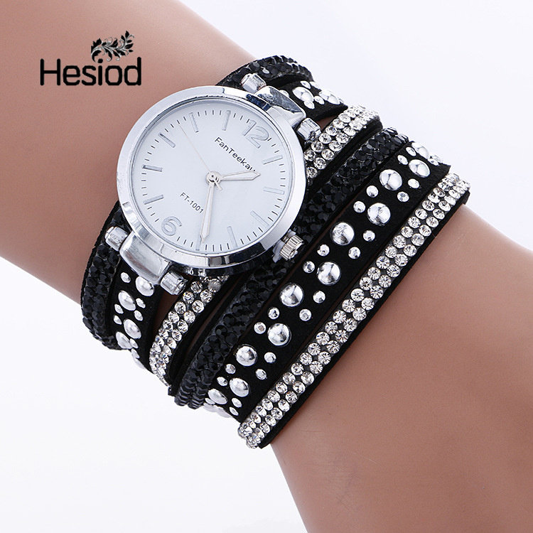 fae4c13f531c Hesiod New Arrival Rivet   Crystal Relogio Feminino Leather Strap Watch for  Women Bracelet Watches Two