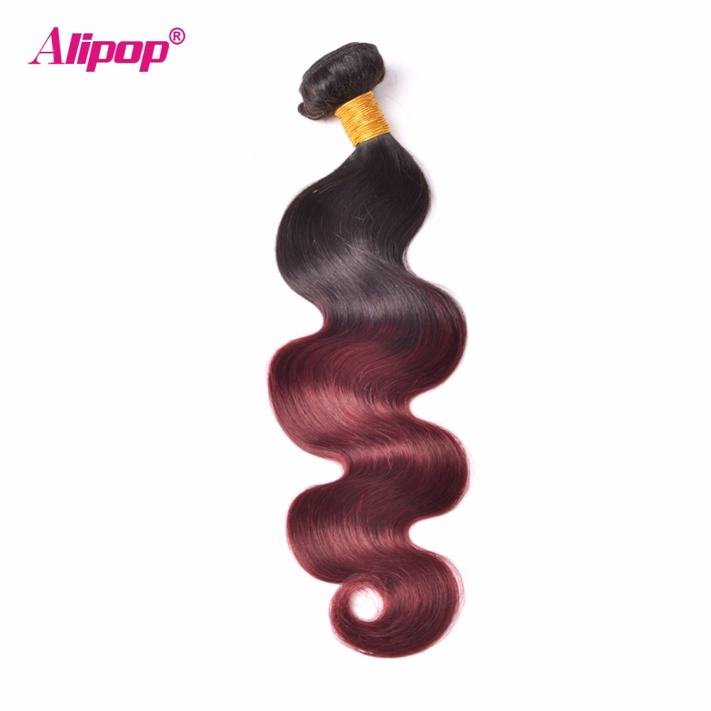 ALIPOP Ombre Brazilian Body Wave Hair Weave Bundles 1B/99J Burgundy Two Tone Human Hair Bundles Non Remy Hair Extensions