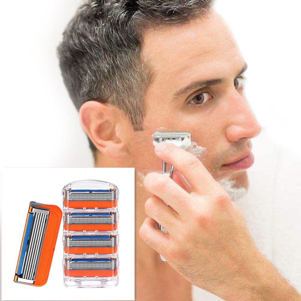 4pcs/lot 5 Layer Blades Shaving Razor Blades For Men Gilett Fusion Power Shaver Blades Gilletts Proglide Shaving Blades