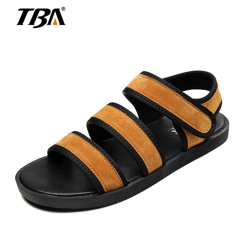 2018 Men Summer Sandals Genuine Leather Brown New Fashion Shoes Men Casual Rubber Beach Mens Sandals Sandalias De Hombre 3002LX
