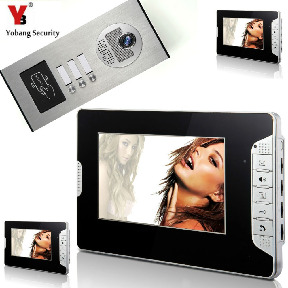 YobangSecurity 3 Units Apartment 7Inch Wired Video Door Phone Doorbell Intercom Entry System With RFID Access Door IR Camera my apartment