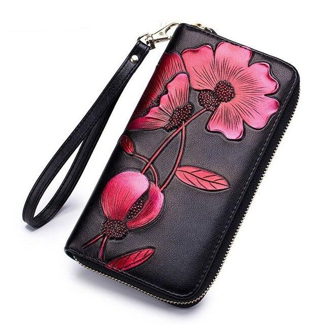 Мода цветок из натуральной кожи Для женщин кошелек женский длинный Walet Для женщин леди сцепления мешок денег Портмоне телефон карман portomonee D33