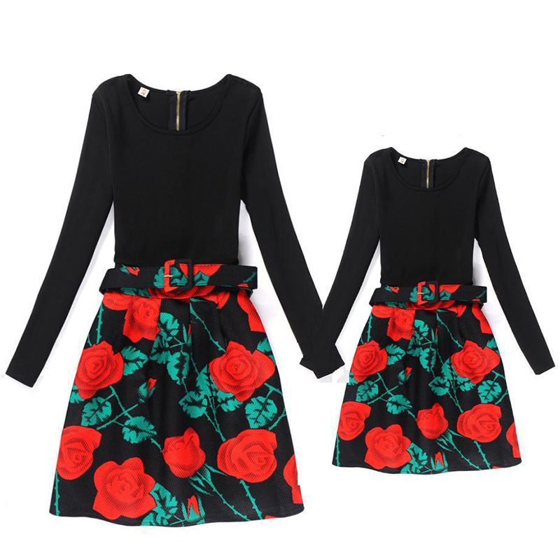 Girls Dress Mom And Daughter Dress Matching Long Sleeve Family Outfits Floral Printing Mommy And Me Clothes Dresses Autumn Style mommy and me mother daughter dresses apple fruit autumn winter long sleeve mom and daughter dress family matching outfits coat