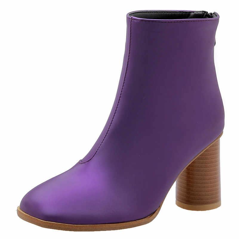 FEDONAS Yeni Zarif Yuvarlak Ayak Yüksek Topuklu Kadın yarım çizmeler Fermuar Chelsea Çizmeler Sonbahar Kış sıcak kısa çizmeler parti ayakkabıları Kadın