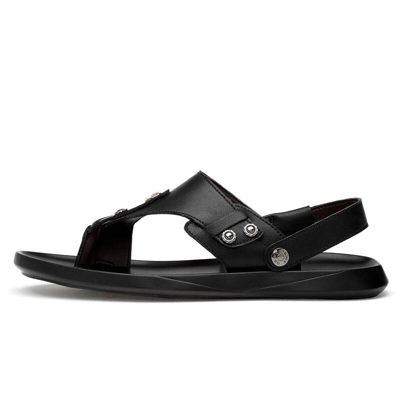 c249af4e09c5 ... Color Men S Shoe Flat Summer LX5 Beach Trend Simple Korean Lightweight  Simple Outdoor Comfortable Leather Sandals ...