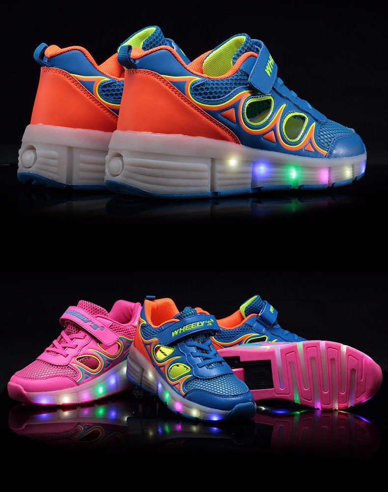 High Quality Cheap Boys Glowing Sneakers With Wheels Kids Light Up Shoes Girls Roller Skates tenis de rodinha tenis led1