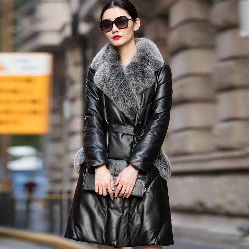 Veste Femmes D'hiver En Cuir Véritable Femmes En Cuir Vêtements bonne qualité manteaux de fourrure Manteau Manteau En Peau de Mouton Renard col de fourrure Ceintures