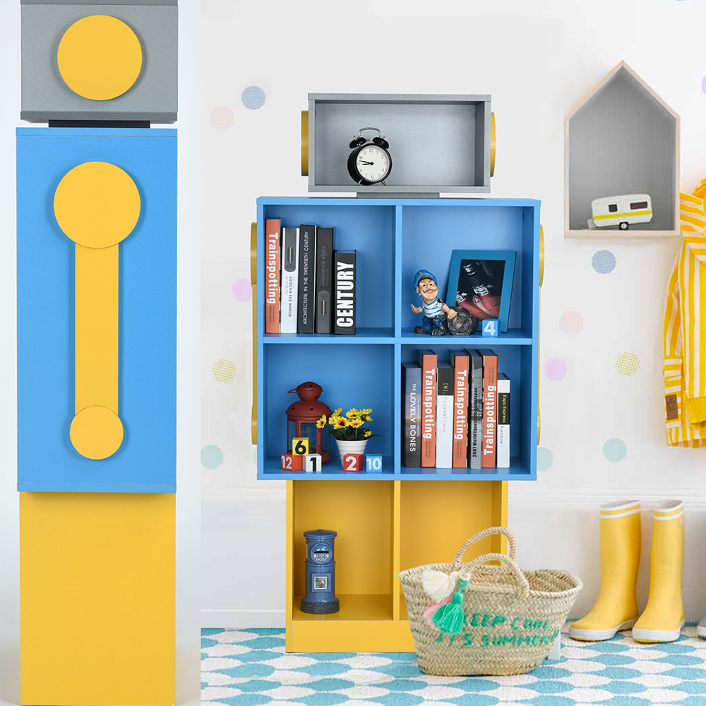 Aingoo L68*W30*H135.8CM Robot Model Bookcase and Big Space Modern Storage Rack for Living Room/Resting Room and Reading Room