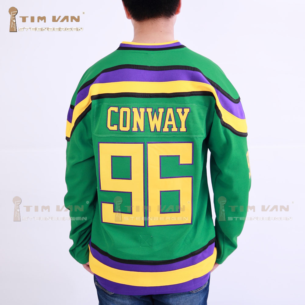 ФОТО TIM VAN STEENBERGE  Ducks Movie Jersey #96 Charlie Conway Hockey Jersey Stitched All Sewn-Green