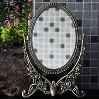 Makeup Vanity Mirror Decorative Mirrors Framed Mirror Vintage Rose Vanity Set Tabletop Two sided Rotatable Ellipse 8 Inch
