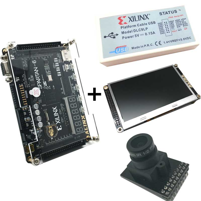 Xilinx FPGA kit XC6SLX9 development board + Piattaforma di elaborazione video Download USB Cable + 4.3 pollice TFT LCD + OV5640 fotocamera XL017