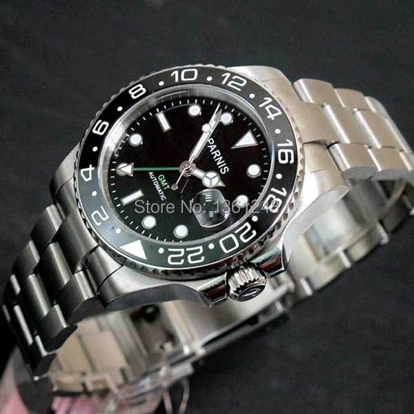 40mm Parnis black dial Sapphire glass Ceramic bezel GMT date automatic mens watch 120 цена и фото